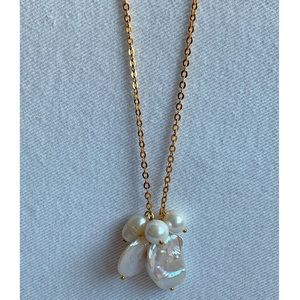 Five Pearl Cluster Gold Chain Pendant Necklace